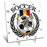 3D Rose Romania Soccer Ball with Fan Crest Desk Clock, 6'' x 6''