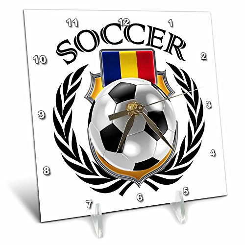 3D Rose Romania Soccer Ball with Fan Crest Desk Clock, 6'' x 6'' by 3dRose