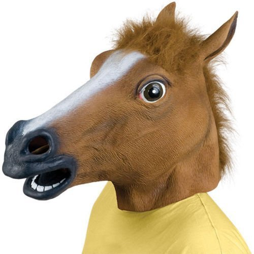 AKORD?RUBBER HORSE HEAD MASK PANTO FANCY DRESS PARTY COSPLAY HALLOWEEN ADULT COSTUME (Brown) by
