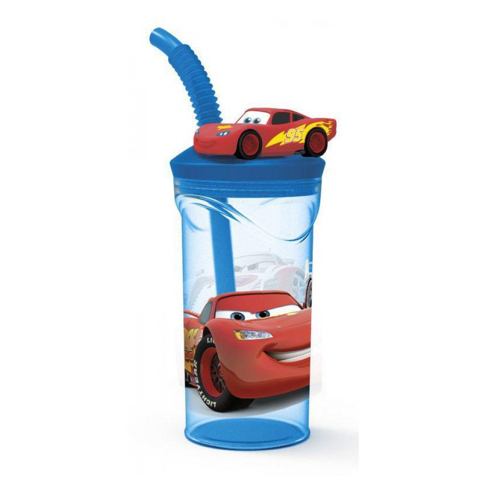 Disney Cars 56366 3D Drinking Cup with Straw Multi-Coloured