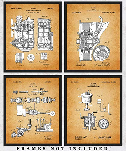 Vintage Ford Patent Wall Art Prints: Unique Room Decor for Boys, Girls, Men & Women - Set of Four (8x10) Unframed Pictures - Great Gift Idea for All Auto & Car Fans!
