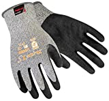 SAFETY-INXS Latex Coated Safety Work Gloves Extra Grip, Level 5 Cut Resistant Gloves Industrial, Anti Cut Black Safety Gloves, Fit for Construction Warehouse Cutting Glass, Medium, Machine Washable