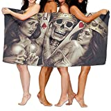 King Skull Crown Poker Premium 100% Microfiber Bath Towels, Soft Luxury Large Bath Sheet, Lightweight Highly Absorbent - Multipurpose Full Of Personality Printing Washcloths