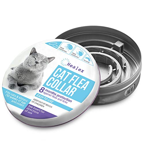 Healex Cat Flea Collar for Flea and Tick Treatment and Prevention | 100% Natural Ingredients, Premium Version, Collars Work for Cats and Kittens, Prevents Reinfection | Helpful E-Book Included
