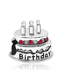 JMQJewelry Happy Birthday Birthstone Cake Candles June-Dec Crystal Rhinestone Charms for Bracelets
