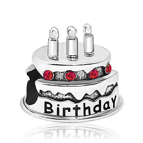 - JMQJewelry Birthstone Birthday Valentine Happy Cake Charm July Charms Beads for Bracelets