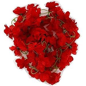DY2DY Artificial Azalea Garland Silk Flower Vine Wedding Garden Decor - Red 52