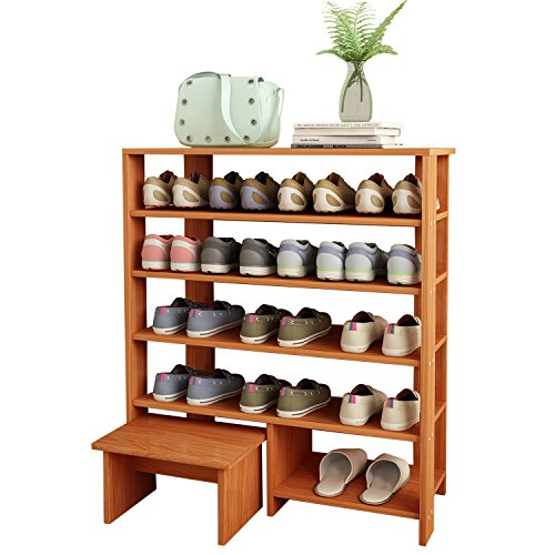 Jerry & Maggie - 5 Tier Wood MDF Solid Shelf Shoe Rack with One Footstool/Shoe Storage Shelves Free Standing Flat Shoe Racks Classic Style -100% Multi Function Shelf Organizer - Natural Wood Tone