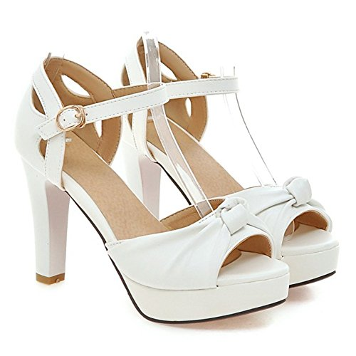 Summerwhisper Womens Sweet Bowknot Peep Toe Ankle Strap Chunky High Heel Platform Sandals White 9 5 B M  Us