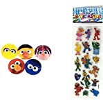 100 pcs. Round Cartoon Childrens Band Aid Latex Free Adhesive Bandages Bandaids and Bonus Free Sesame Street Stickers and A Collection of Kids Jokes by PZ Bundle (4 Items)