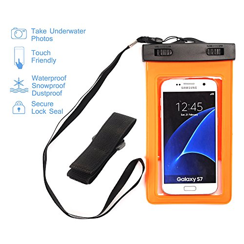 "Price comparison product image Universal Waterproof Case - GreenElec Clear CellPhone Dry Bag Pouch for iPhone 7 7 Plus 6, 6S Plus,  5S,  Galaxy S7,  S6 Note 5,  HTC LG Sony Nokia Motorola ZTE up to 5.5"" diagonal (Orange)"
