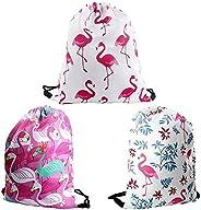 3 Pack Drawstring Bag, 3D Print Flamingo Drawstring Gym Backpack Sackpack Cinch Tote for Gym Sport or Travel S
