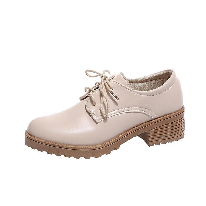 ZODOF Zapatos Botas de Invierno para Mujer Zapatos de Mujer de Moda Zapatos  Planos de Cuero de Oxford de Tobillo Plano Botas Cortas  Amazon.es  Ropa y  ... 18941b232df97