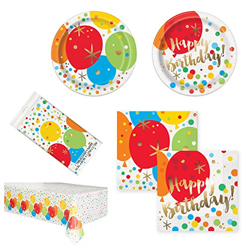 Unique Glitzy Gold Birthday Party Bundle | Luncheon & Beverage Napkins, Dinner & Dessert Plates, Table Cover | Great for Colorful/Balloon Themed Parties