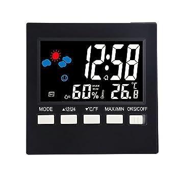 Termohigrómetro digital Reloj LCD grande Reloj meteorológico Termómetro interior Higrómetro Control de voz Humedad Temperatura Iluminación de fondo Relojes ...