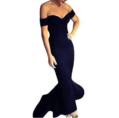 a5eac9e31bbd6 Vestito donna abito lungo scollato aderente sirena elegante sexy nuovo  DL-1768  M