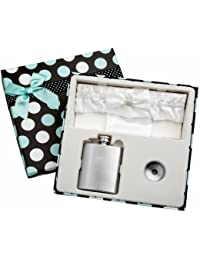 Gain 3oz White Garter Belt Hip Flask with Gift Box for Weddings, Free Engraving! discount