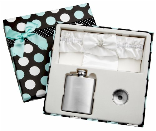 (3oz White Garter Belt Hip Flask with Gift Box for Weddings, Free)