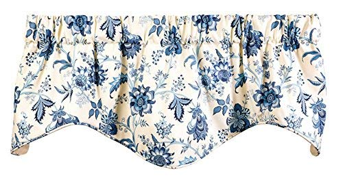Window Treatments Valance Curtains Kitchen Window Valances or Living Room Blue and White