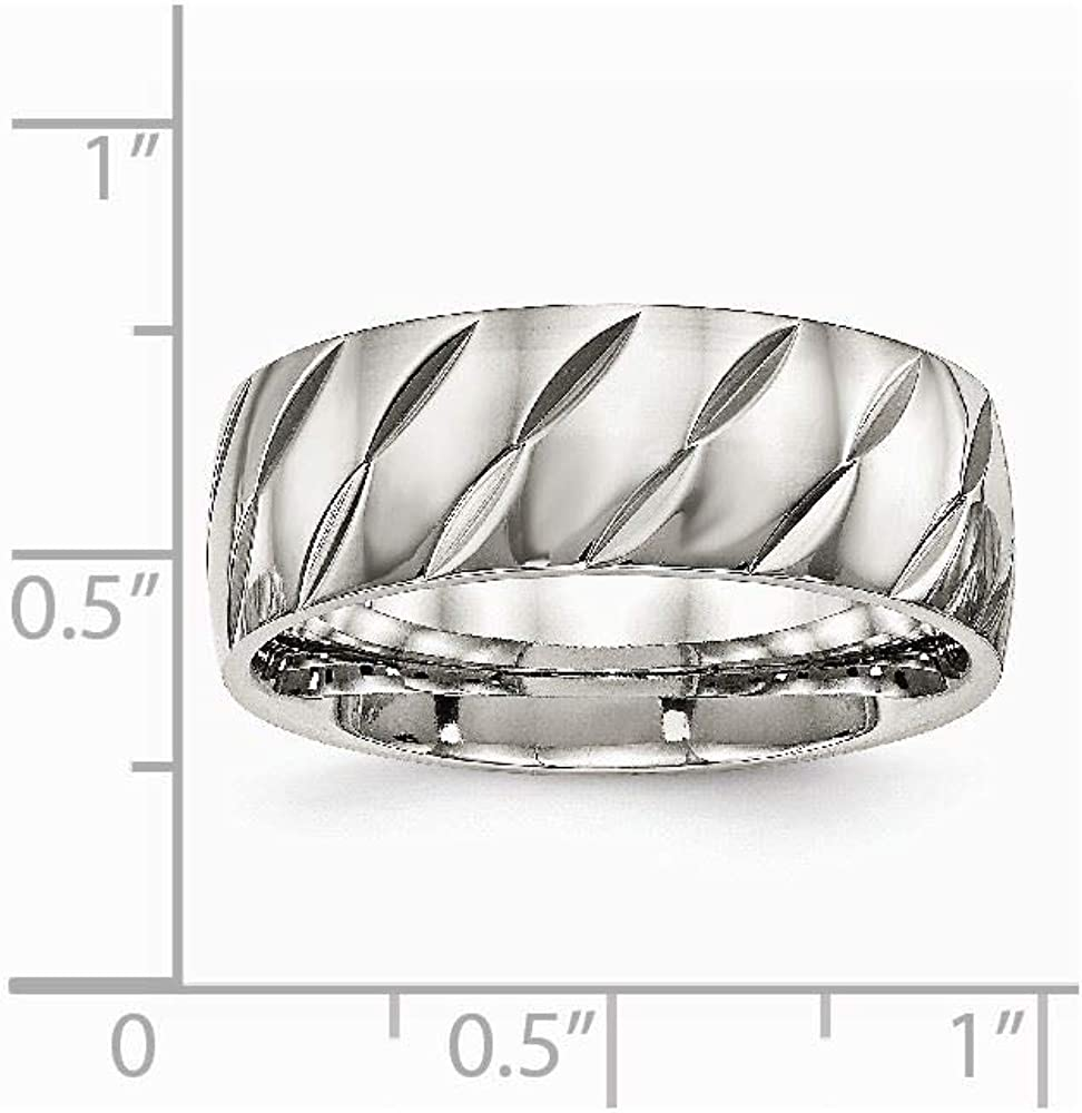 Bridal Stainless Steel Polished Diamond Cut Ring