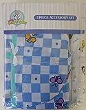 (US) Baby Looney Tunes 3 Piece Garden Party Accessory Set - Crib Skirt, Flannel Receiving Blanket, Diaper Stacker