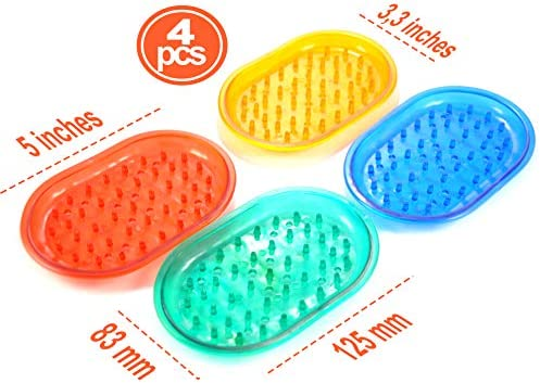 anti-slip tray for kitchen /& bathroom soft /& flexible soap /& sponge holder 1003365 easy cleaning Green red 4-pack Blue Silicone Soap Dishes with bumps soap bar saver with bottom drain Yellow