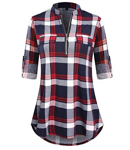 DILISHA Women's 3/4 Sleeve Zipper V Neck Shirts Casual Blouses Tunic Tops (XL, red) ()