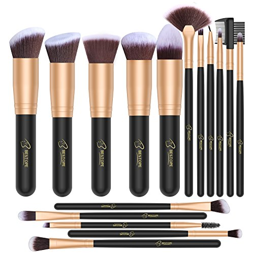 BESTOPE Makeup Brush Set 16 Piece Premium Cosmetic with Super Velvety Synthetic Hair Kabuki Foundation (Black Gold), 0.44 Pound