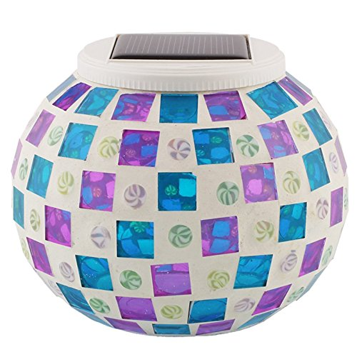 SODIAL(R) Glass Color Changing Mosaic Solar Jar Lights La...