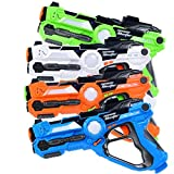 Costzon Laser Tag Set, Infrared Battle Shooting Games Laser Tag Blasters, Indoor & Outdoor Group Activity, 4 Pack