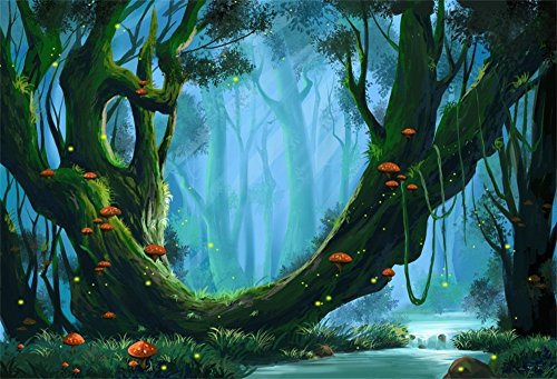 (OFILA Fairy Forests Backdrop 5x3ft Photography Background Trees Mushroom Elf Grass Land Wonderland Little Princess Portraits Enchanted Theme Birthday Party Kids Wallpaper Toddlers Shoots Props )