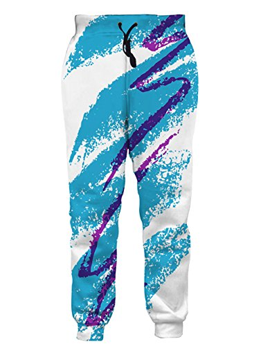 Leapparel Unisex 80s Jazz Solo Cup Graphic Design Hipster Stylish Jogging Pants Sweatpants M Blue