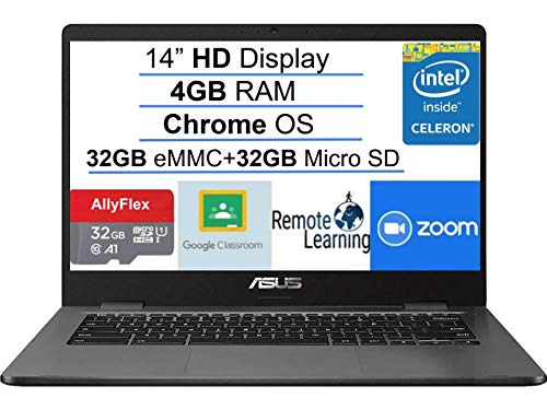 """ASUS Chromebook 14 Thin and Light Laptop 14"""" HD Screen Intel Celeron N3350 4GB DDR4 64GB Space(32GB eMMC+32GB Micro SD) USB-C Webcam Chrome OS (Google Classroom and Zoom Compatible) + AllyFlex MP"""