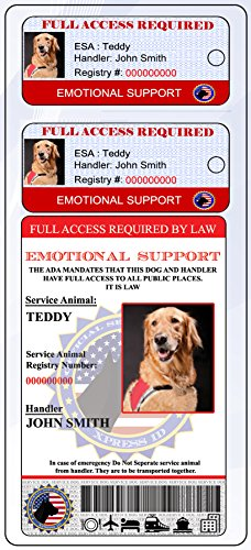 Holographic Emotional Support ID + 2 Key Tags | Includes Registration to National Dog Registry