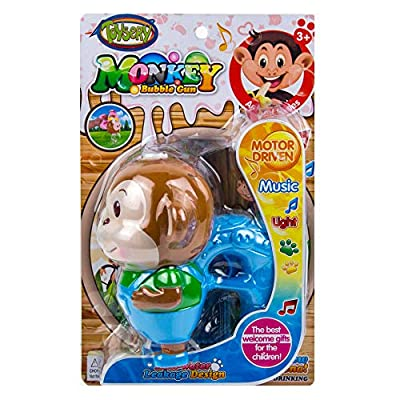Toysery Monkey Bubble Gun Machine, LED Bubble Blaster Summer Party Toy with Music, Leak Resistant Bubble Blower Gun Perfect Easter, Birthday, New Year, for Toddler Boys Girls - Blue: Toys & Games