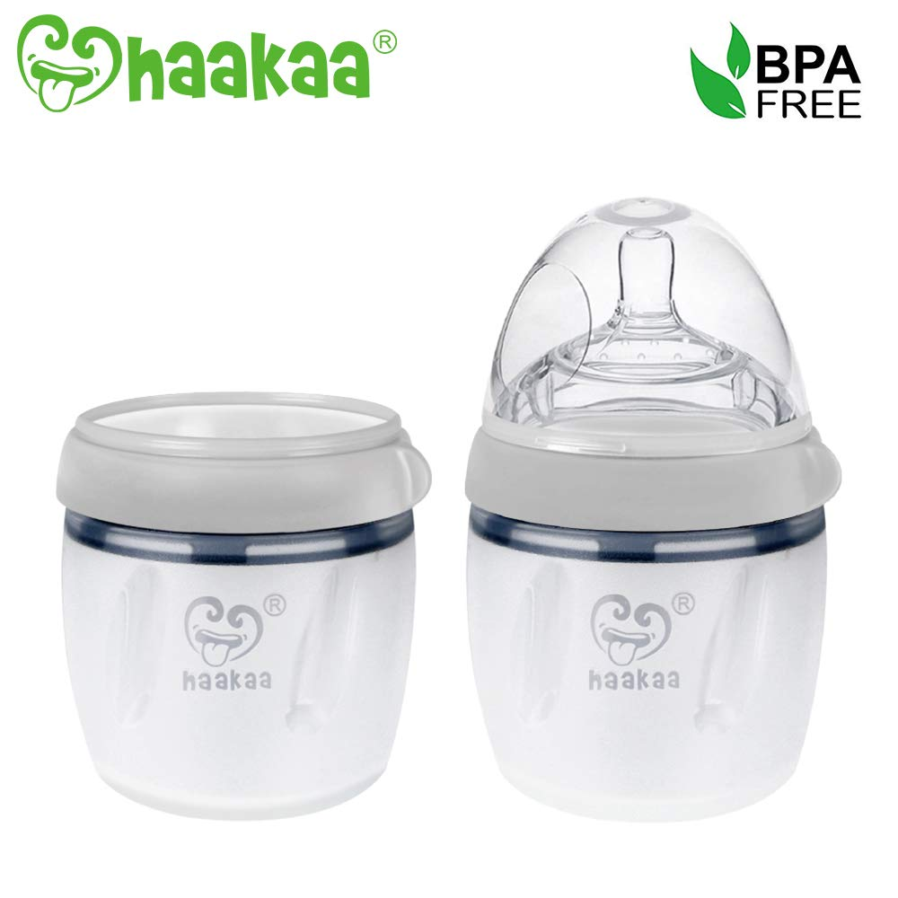 Haakaa 160ml Silicone Baby Bottle and 160ml Breastmilk Storage Bottle Set for Infant Newborn (5oz + 5oz, Grey) by haakaa