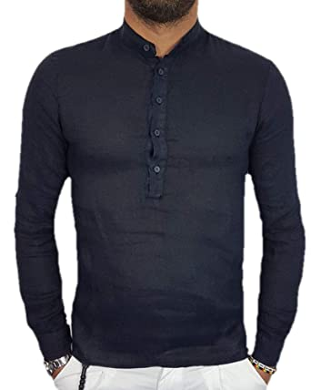 3b2640102a18 SySea Mens Casual V Neck Cotton Long Sleeve Hippie Shirts Banded Collar  Henley Tops with Buttons