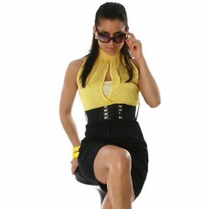 Celebrity estilo amarillo gasa venda estuche negro vestido de camiseta de cuello halter sin tirantes cinturón Mini Noche Cóctel Club Fiesta Graduación ...