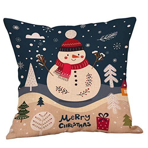 Merry Christmas Cotton Linen Pillow Cover Cute Snowman Tree Zipper Closure Pillow Case Throw Cushion Removable and Washable Home Decoration 18