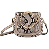 Ainifeel Women's Leather Handbags With Bracelet Handle On Clearance (Snakeskin embossed(leather+suede))
