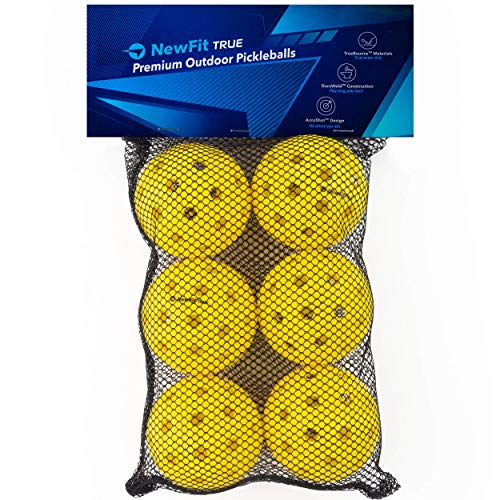 NewFit True Pickleball Balls | Premium Outdoor Pickleballs l Durable and Quiet Yellow Colored Outside Pickleballs | Pickleball Ball Bag Included (Yellow 6-Pack)