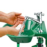 Outdoor Sink and Faucet Fixture - Built-in Drinking Water Fountain - Transforms any Garden Spigot into a 2-in-1 Cleaning and Water Station - Comes with All Installation Accessories, Easy To Install