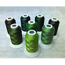 8 Same Color Shade Polyester Embroidery Machine Thread for Janome Brother Pfaff Bernina Babylock Singer Husqvarna Machines (Green)
