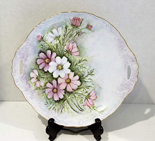- Hand Painted China Plate - Floral with 14kt Gold Rim 11 5/8