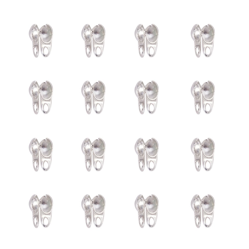 NBEADS 5000 PCS Silver Color Iron Bead Tips, Open Clamshell Fold-over Bead Tips Knot Covers End Caps for Knots & Crimp Findings IFIN-R119-03S