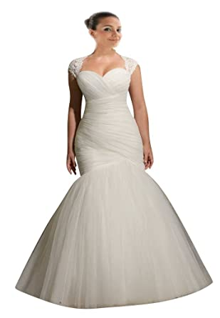 Mollybridal Womens Tulle Mermaid Plus size Wedding Dress with Sleeves Ivory 24