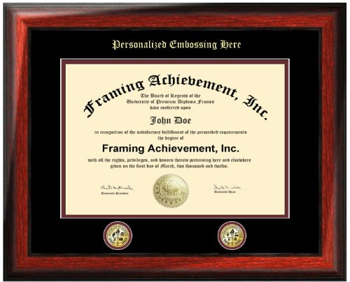 Personalized Gold Emboss College Matted Diploma Frame with Two Double Gold Seal Insignia Logos - Satin Rich Mahogany University Graduation Gift Diploma Frame - University Certificate Matted Frame - Top mat (Black) Inner mat (Maroon)