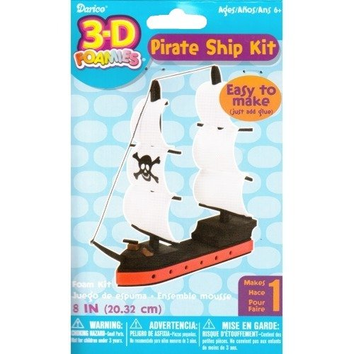 3-D Pirate Ship Foamies Craft Kit (Easy To Make, Just Add - Glue Craft Foamies