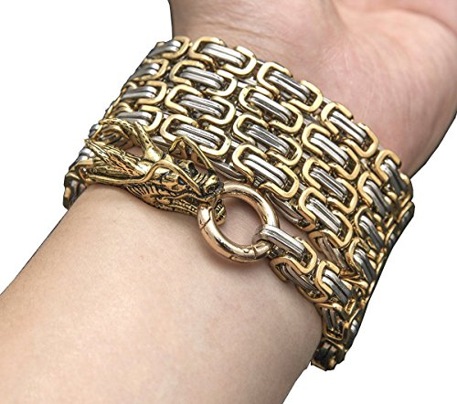 Forsinsing Outdoor Stainless Steel Protection Dragon Hand Bracelet Chain (Gold and Silver 10mm)