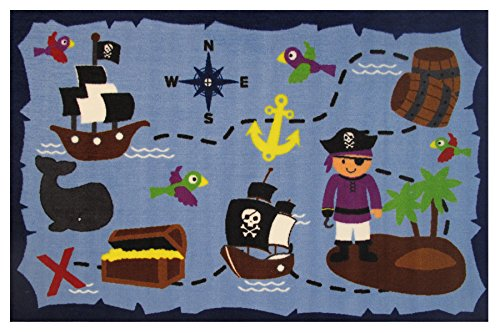 """Kids Pirates Life In the Ocean Rugs for Playroom, Nursery Rooms, 39""""x58"""" size"""